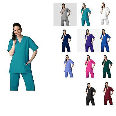 Unisex Men Women Medical Hospital Clinic Nursing Scrub Set Top & Pants XS-2XL