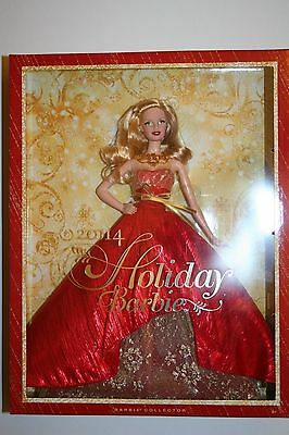New Barbie 2014 Holiday Doll Red Gown With Golden Lace Blonde Barbie Collector