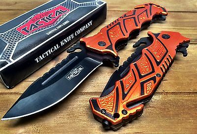 Spring Assisted Folding tactical Pocket knife with Alum Handle, Glass breaker-OR