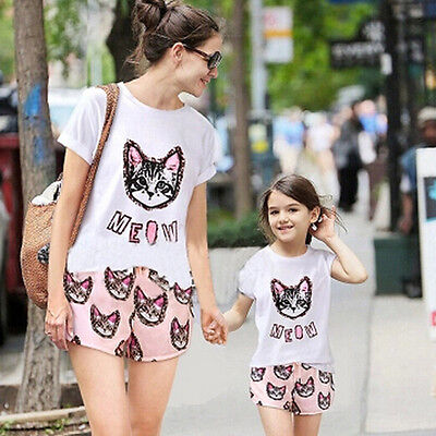 Family Clothing Set Mother And Daughter Clothes Cat Pink Printing Top and Shorts