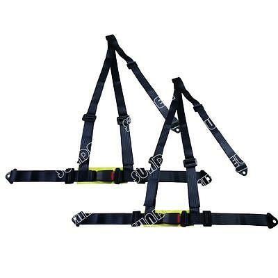 NEW! Pair Black 3 Point Racing Rally Race Harness With Anchor Plates