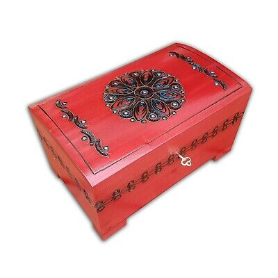 Wooden Large Jewellery Chest In Red Color Lock And Key