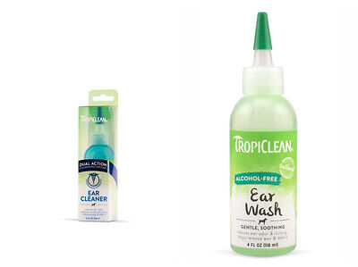 Tropiclean Alcohol Free Ear Wash Dual Action Ear Cleaner For Dogs Cat