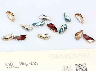 Genuine SWAROVSKI 4790 Wing Fancy Crystals 18x7.5mm with Sew On Metal Settings