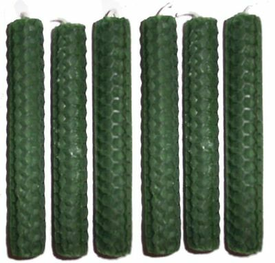 6 x 20cm (8 inch) GREEN BEESWAX CANDLES Money Wealth Prosperity Luck Success