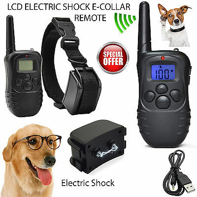 Electric Shock E-Collar 1 Dogs Training Remote Control Anti-Bark UK
