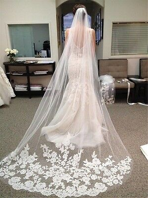 Lace Edge Ivory Cathedral Wedding Veil Bridal Long White 1T With Comb Stunning