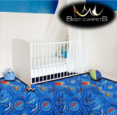 CHILDREN'S CARPET CARS blue Disney Kids Bedroom Rug, ANY SIZE Play Room Pixar
