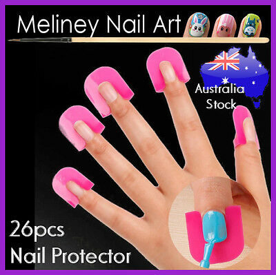 26pc Nail Protector for Polish Application Nail Art Tool Manicure Plastic Clip