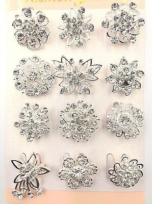 A Pack Of 12 Beautiful Silver Diamante Flower Pin Brooch Wedding Bouquet Broach
