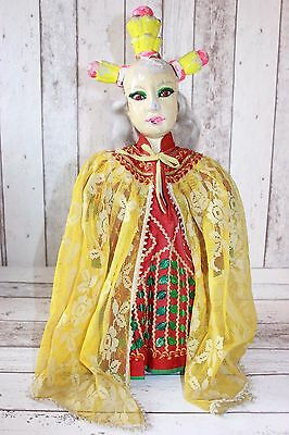 ANTIQUE CHINESE OPERA ASIAN WOMAN DOLL HAND PUPPET Antik Budaixi Puppe WOOD HEAD