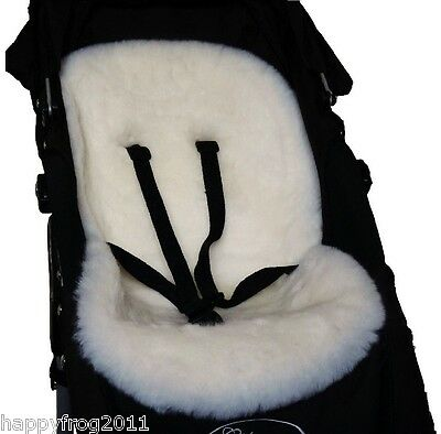WHITE SHEEPSKIN for Buggy Pushchair Pram Car Seat Liner Mat Natural Eco-Friendly