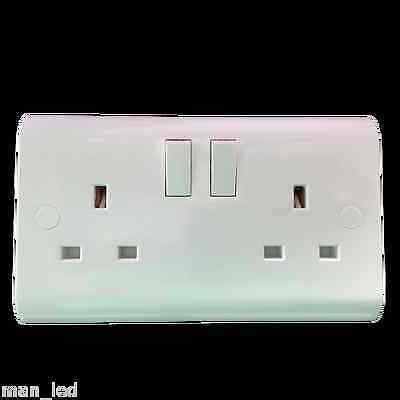 UK Standard Double Switched Socket Plug Electrical Wall 13A inc Screw + Covers