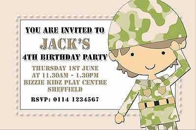 Personalised Birthday Party Invitations Army Soldier A0090