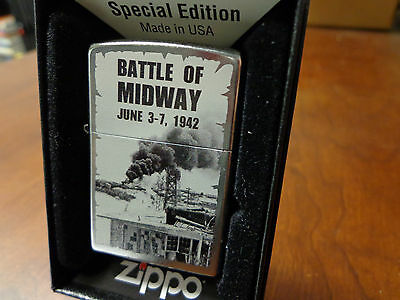 Battle Of Midway June 3-7 1942 Wwii Zippo Lighter Mint In Box