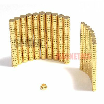 Tiny N52 neodymium disc magnets 2mm 3mm dia x 1mm GOLD plated craft jewellery