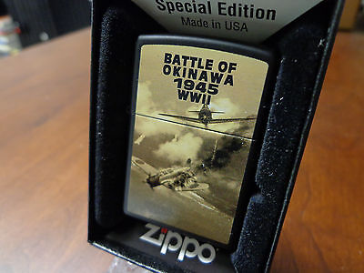 Battle Of Okinawa Usa Japan Planes 1945 Wwii Zippo Lighter Mint In Box