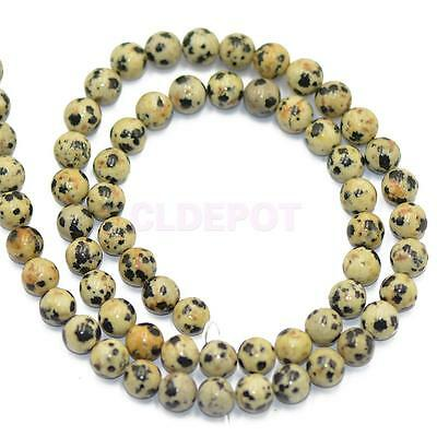 6mm Natural Dalmation Spot Jasper Gemstone Round Loose Spacer Beads Strand