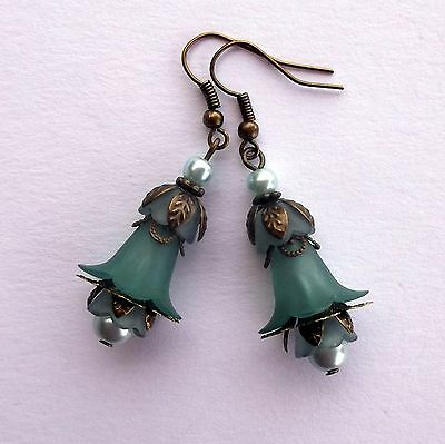 Teal Green Lucite Lily Flower Bronze Dangle Earrings Victorian Vintage Style