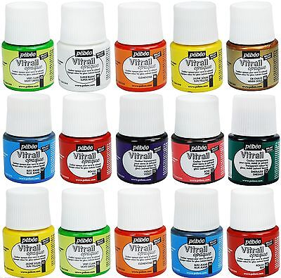 PEBEO VITRAIL GLASS PAINT STAINED TRANSPARENT OPALE OPAQUE COLOURS 45 ml PEBEO