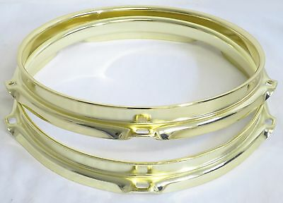 "NEW 8"" BRASS 2.3mm Triple Flange 5-HOLE DRUM HOOPS/RIMS SET (Gretsch) FREE SHIP!"