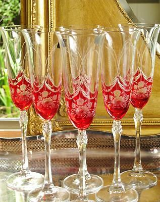 "Boxed set 6 Beautiful Bohemia Royal Crystal ""Petite Fleur"" Champagne flutes NEW"