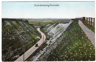 Early DUNSTABLE  Chalk Hill Cutting Bedford  Postcard