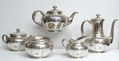 1881 Tiffany & Co Sterling Silver Acid Etched Vines 5 Piece Tea Set