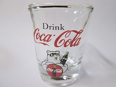 Drink Coca Cola / Coke Bear Logo On A Clear Shot Glass