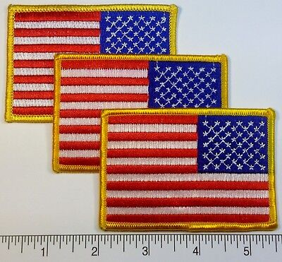 "3-pack: REVERSE American FLAG Embroidered Patch - 3.5 x 2.25"" - Patriotic USA US"