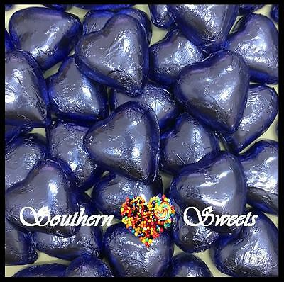 1Kg Mauve / Lavender Foiled Hearts Milk Chocolate Choc Candy Buffet Lollies