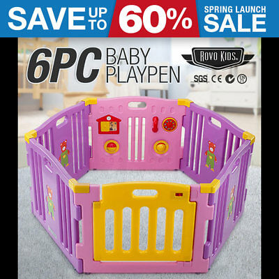 NEW 6pc Baby Playpen - Pink Toddler Safety Monitor Gate Fun Purple Plastic Child