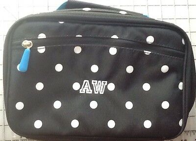 New Pottery Barn Kids Teen Lunch Bag Black With White Dots Monogramed AW PBT