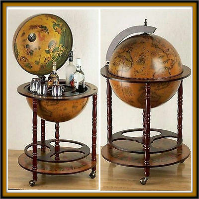 Antique Drinks Cabinet Wooden Home Cocktail Wine Bar Vintage Trolley Century Map