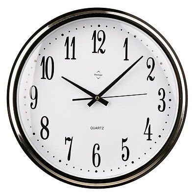 Plastic Silver Black Kitchen Wall Mountable Clock With Chrome Black Hands