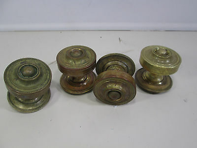 4 Heavy Brass Door Knobs w/Backplates- Center Ball Design #4