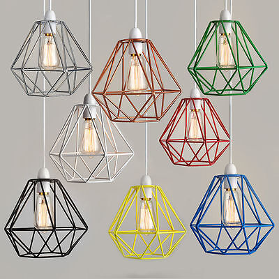 Industrial Style Metal Wire Frame Ceiling Light Shade Squirrel Cage Bulb 20x20cm