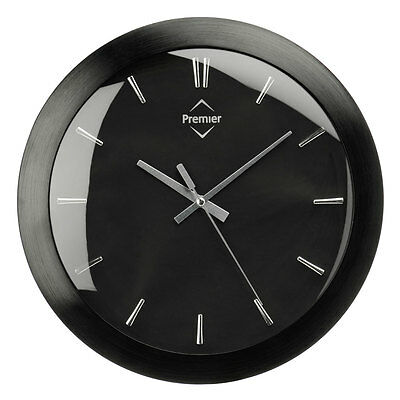 Aluminium Black Faced Kitchen Wall  Mountable Clock With Silver Dials Hands