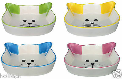 Cat Kitten Food Water Bowl Ceramic Dish Cat Face  Blue Pink Green. Yellow 24494