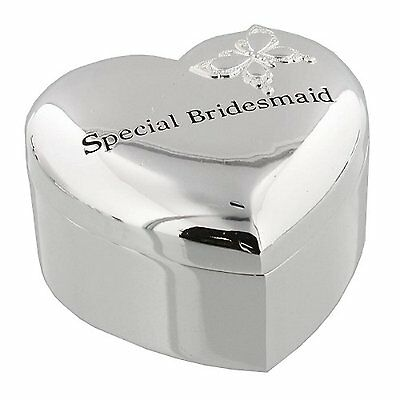 ' Special Bridesmaid ' Silverplated Heart Trinket Box with Butterfly Design