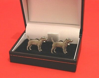 Patterdale Terrier Dog Pewter Cufflinks Pet Vet Dad Christmas Gift BOXED New