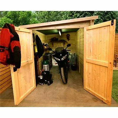 Motorcycle garage metal motorbike storage high for Motorcycle storage shed
