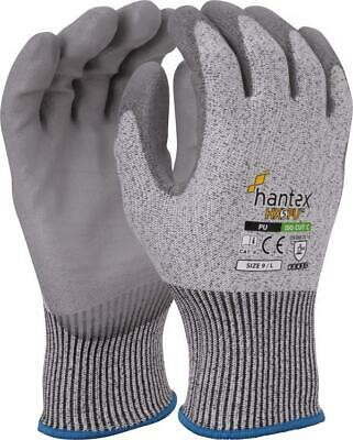 Hantex® HX5PU Cut Resistant Level 5 Work Gloves Grey PU Palm Coated - All Sizes