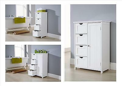 Bathroom White 4 Drawer and Multi Storage Unit