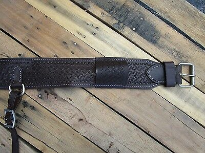 Tooled Leather Back Rear Cinch Flank Billet Western Girth Horse Trail Roper Tack