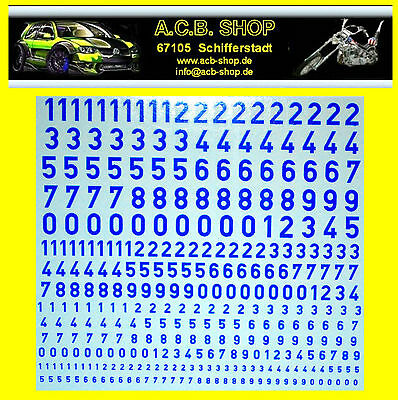 Zahlen in blau Numbers blue 1:87 + 1:43 + 1:32 Decal Abziehbilder