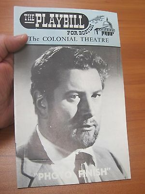 Vintage 1963 Theater Playbill Colonial Theatre Photo Finish Peter Ustinov