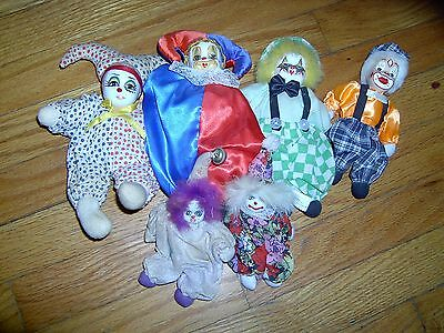 Vintage-Lot Of 6 - Hand Painted- Porcelain Head- Sitter Clowns/ Jesters