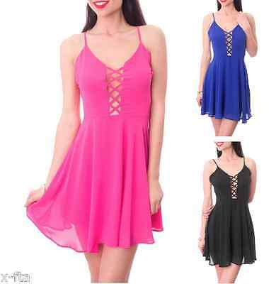 Spaghetti Strap with Open front and back Sexy mini club Party Dress