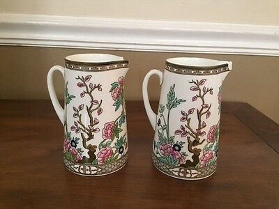 Set of Two Vintage Coalport Indian Tree Cream Pitchers - Both Chipped